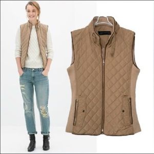 Zara Woman quilted and ribbed knit puffer vest